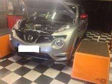 A customer's Nissan Juke in the dyno room